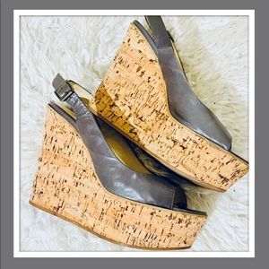 ❣️Grey Cork Wedge Platform Slingback Sandals 8